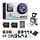 Wimius Action Cam 4K WiFi 16MP Fotocamera Subacquea Full HD 1080P Videocamera,4K/30FPS,1080P/60FPS,WiFi,2 batterie, Accessori, doppio schermo, custodia impermeabile a 40 metri di profondità