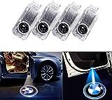 4 PCS Éclairage de Porte LED 3D Logo Lumière Auto Voiture Porte Lumières (Noir)