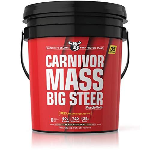 SPORTS NUTRITION SOURCE Muscle Meds Carnivor Mass Big Steer Anabolic 100% Rindfleisch Eiweiß Isolat Pulver Gainer schokolade, 1er Pack (1 x 6803 g) -