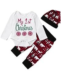 sunnymi 3 Stück Baby Junge Mädchen Weihnachten Outfits Strampler Tops + Hosen + Hut Neugeborenen Brief Set