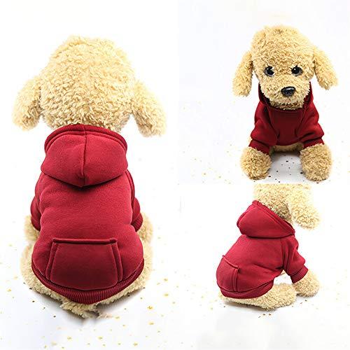 U.Expectating Hundekleidung Hoodie Winter warmen Welpen Mantel Stricken Welpen Pullover (XXL, Weinrot)