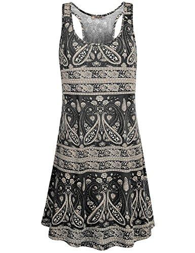 Hibelle Flows Dress, Frauen Rundhalsausschnitt ärmelloses farbenfroh bedrucktes Sun Trapez Tankkleid mit Taschen Schwarz XL