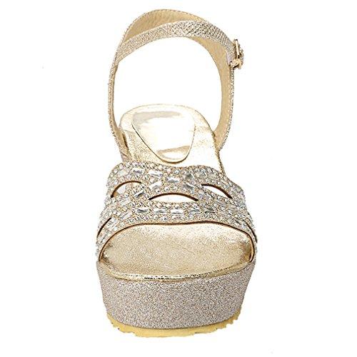 YE Damen Offen Knöchelriemchen Glitzer High Heel Plateau Sandalen mit 7cm Keilabsatz und Schnalle Bequem Schuhe Gold