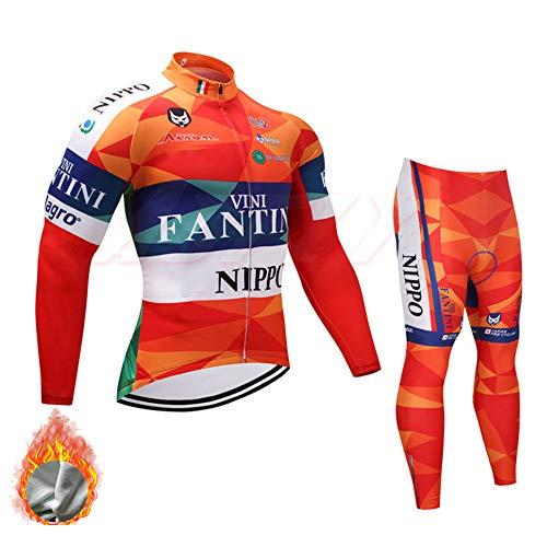 YDJGY Langarm Radtrikot, Winter Thermovlies Herren Radbekleidung Atmungsaktive Fahrradbekleidung Sets