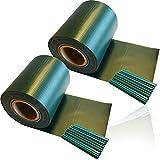 HSM 2 x Zaun Sichtschutz Blende Zaunfolie Sichtschutzstreifen 19cm x 35m aus hochwertigem PVC ALS Windschutz inkl. 20 Befestigungsclips GRÜN