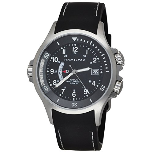 HAMILTON MEN'S KHAKI NAVY GMT 42MM BLACK RUBBER BAND AUTOMATIC WATCH H77615333