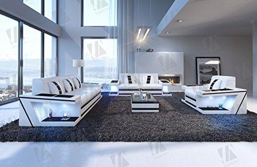 Designer Couch Paderborn 3er, 2er & Sessel weiss schwarz - 6