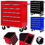 Masko® Werkstattwagen - 5 Schubladen, rot ✓ Abschließbar ✓ Massives Metall | Mobiler...