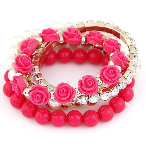 Shining Diva Fashion Pretty & Trendy Pink Metal Roses Bangle set for Girls