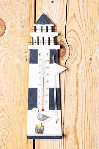 Leuchttürme Home Decor (Thermometer Leuchtturm blau weiß Maritime Dekoration)