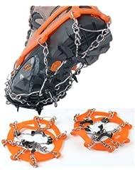 Unisex uno nuevo par portátil anti-suela con fijación de calzado con agarre de tracción zapatos para clavar en escalera Sharp cadena Spiker de Blancanieves y los siete Walking Walker Naranja naranja Talla:talla única
