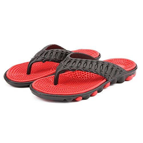 Herrenmode Strand Slipper Indoor und Outdoor Flip-Flop Thong Sandalen (rot-CN44) Spa-kunststoff-pantoffeln