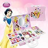 Waroomss Disney 53 PCS Mädchen-Kosmetikspielset mit Spiegel | Waschbar & nicht giftig | Princess Real Makeup Kit mit Etui | Ideales Geschenk für Kinder