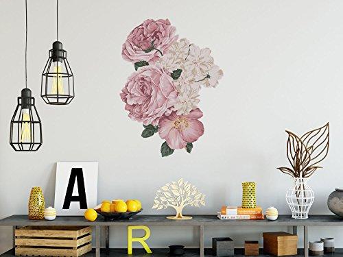 Wandtattoo I dekorativer Wandsticker - individuelle Zimmer Deko - Wand-aufkleber Bild für Wandgestaltung I selbstklebendes Wall-Print Tattoo - einfach anzubringen I Design Rosa Rosen - 53 x 70 cm - Bild Rosa Rosen