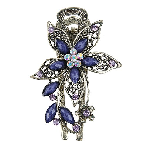 niceeshop(TM) Vintage Jewelry Beautiful Charm Flower Crystal Rhinestone Hair Clips Hair Pins-Antique Bronze&Purple