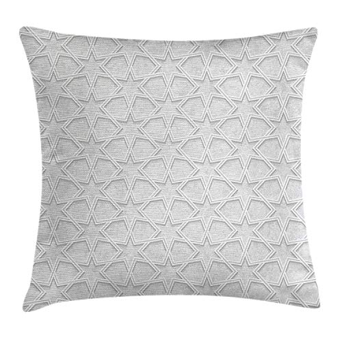 KLYDH Quatrefoil Throw Pillow Cushion Cover, Fantastic Persian Ethnic Design Made with Stars and Shap Edges on Blurry Backdrop, Decorative Square Accent Pillow Case, 18 X 18 Inches, Dust