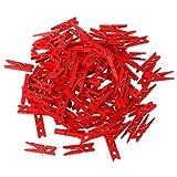 lunji Wäscheklammern aus Holz Foto Craft Clips Haus Hochzeit Deko 3× 0.8cm–100-teilig, rot, 3×0.8cm