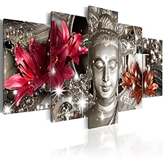 BD XXL murando Impression sur Toile intissee 200x100 cm cm 5 Pieces Image sur Toile Images Tableau Motif Moderne Decoration tendu sur Chassis Bouddha Fleurs Diamant h-C-0029-b-n