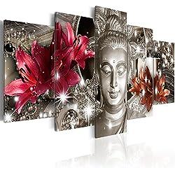 murando - Cuadro Buda Zen SPA 200x100 cm impresión de 5 Piezas - Material Tejido no Tejido - impresión artística - Imagen gráfica - Decoracion de Pared - Flores Naturaleza h-C-0029-b-n