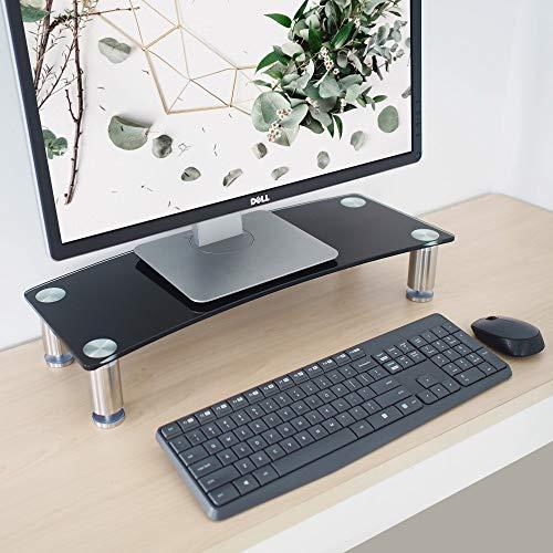 Glas-büro-computer-schreibtisch (Monitorständer für Schreibtisch - höhenverstellbar - Bildschirmerhöhung für Computer, Laptops und Fernseher - schwarzes gebogenes Glas mit Aluminiumbeinen - 56 x 24 cm)