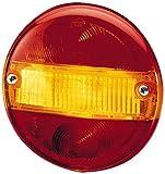 HELLA 9EL 113 324-001 Lichtscheibe Heckleuchte, Schluss-Brems-Blink-Kennzeichenleuchte, Anbau links/rechts, rot/gelb/weiß, rund
