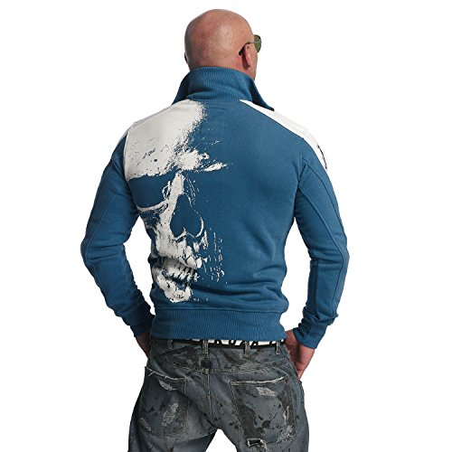 Yakuza Original Herren Skull Trainingsjacke Zipper Mallard Blue