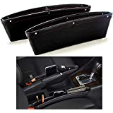 PRO365 Car Front Seat Storage Mobile/Parking Tickets/Gums/Wallet/Keys Leather Organizer Fit All Cars (2 Pieces)