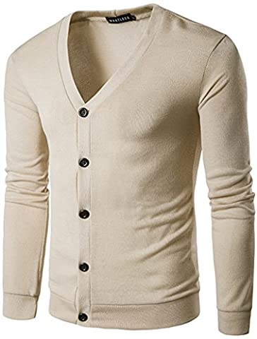 Whatlees Casual Casual Contraste Button Down Zip up Slim Cardigan B427-Biege-XL