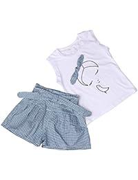 Conjuntos de ropa, Dragon868 Verano niñas niños arco patrón de la camisa y la cuadrícula juegos cortos