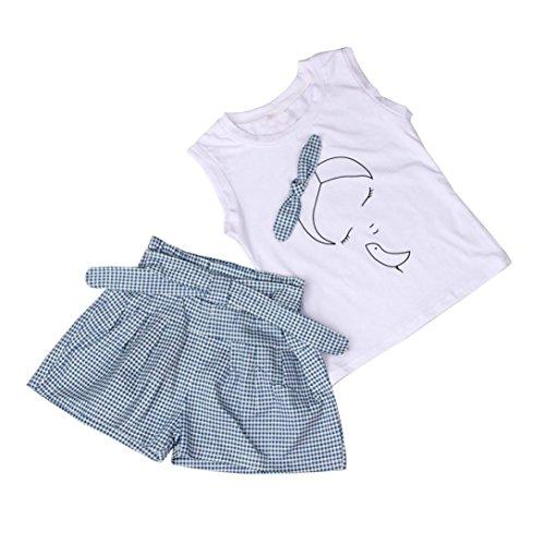 Conjuntos de ropa, Dragon868 Verano niñas niños arco patrón de la camisa y la cuadrícula juegos cortos (6-7Y, blanco)