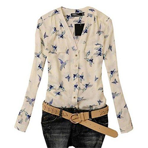 Amlaiworld Chiffon sommer blumen Vogel drucken bluse damen strand  V-Ausschnitt shirt basic elegant Tops d447f9b709