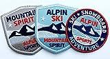 3er-Set, Stick-Abzeichen Winter Sport Alpin / Ski Snowboard Mountain Spirit / Applikation, Aufnäher, Aufbügler, Bügelbild, Patch für Kleidung, Rucksack, Tasche