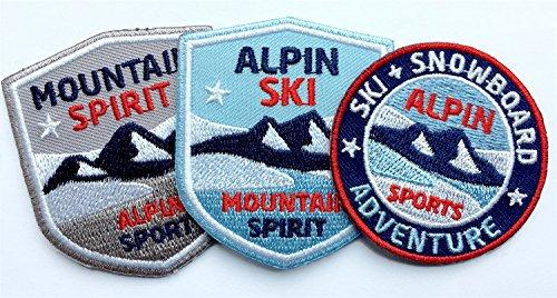 Club-of-Heroes 3er-Set, Stick-Abzeichen Winter Sport Alpin/Ski Snowboard Mountain Spirit/Applikation, Aufnäher, Aufbügler, Bügelbild, Patch für Kleidung, Rucksack, Tasche