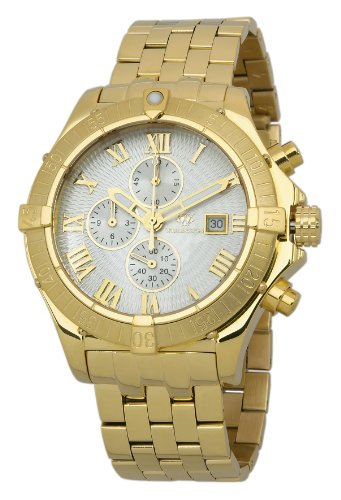 Wellington Donegal Men's Quartz Watch with Silver Dial Chronograph Display and Gold Stainless Steel Plated Bracelet WN114-219