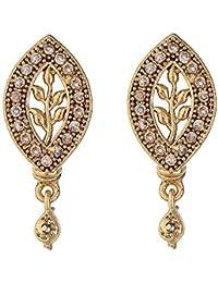 Zeneme Leaf Designer Gold Plated American Diamond Earring For Women And Girls