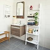SoBuy® Modernes Leiterregal, Standregal, Bücherregal, Badregal, weiß, Breit: 56cm,FRG17-W