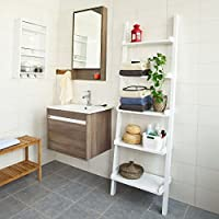 SoBuy Modern Ladder Shelf Made of Wood with Five Floors, stand shelf, wall shelf, 56x189cm FRG17-W,white by SoBuy