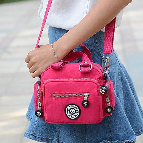 Tiny Chou Mini Farbe wasserabweisend Nylon Handtasche Cross Body Schultertasche für Frauen & Mädchen Hellbalu