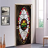 Post-Modern Glas Muster Nachahmung Fenster Tür Aufkleber Möbel Pvc Selbstklebende Tapete Dekorative Garderobe 77X200CM