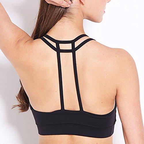 Vertvie Femme Push Up Soutien-gorge de Sport Bra avec Bretelles Pad Amovible Sans Armature pour Fitness Yoga Jogging Noir