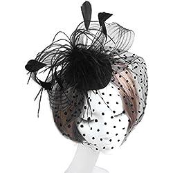 LUFA Mujeres arco pluma neto y sombrero de velo fiesta de bodas pelo clip flor de tocado