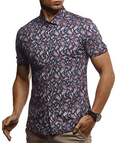LEIF NELSON Herren Hemd Kurzarm Slim Fit T-Shirt Kentkragen | Stylisches Männer Freizeithemd Stretch Kurzarmhemd | Jungen Basic Shirt Freizeit Sweater Kurzarmshirt | LN3835 Blau-Beige XX-Large