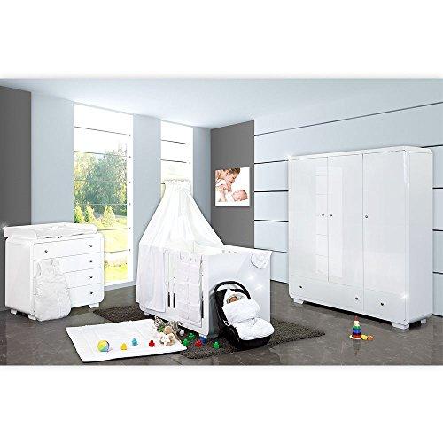 Hochglanz Kinderzimmer Yves mit 3 türigem Kleiderschrank + gr. Bett
