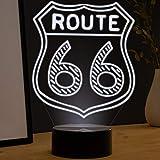 LED Deko Lampe Route 66 - Elbeffekt - Motorrad Deko - USA Biker Geschenk Route 66