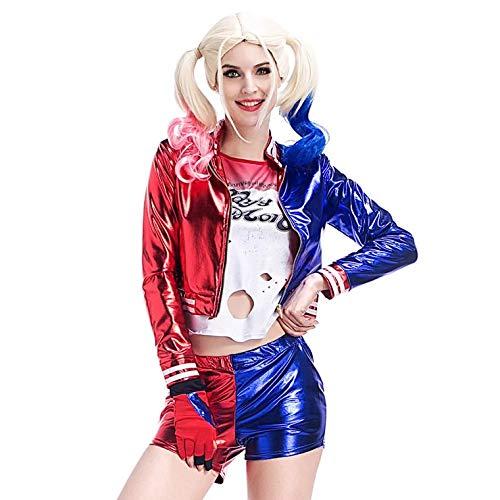 thematys Harley Quinn T-Shirt + Jacke + Hose + Handschuhe + Perücke - Kostüm für Damen - perfekt für Fasching, Karneval & Cosplay - 4 Verschiedene Größen (L)