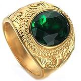 Uezenu Herren Jahrgang 28k Jin Xiangyun Rot Grün Saphir Titan Stahl Schmuck Ringe