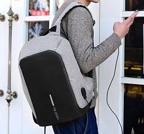 Fur Jaden Grey Anti Theft Casual Waterproof Backpack Bag with USB Charging Point Image 2