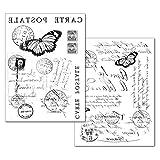 Stamperia Transfer-Papier Carte Postale 2 Stück Post Stempel Schrift