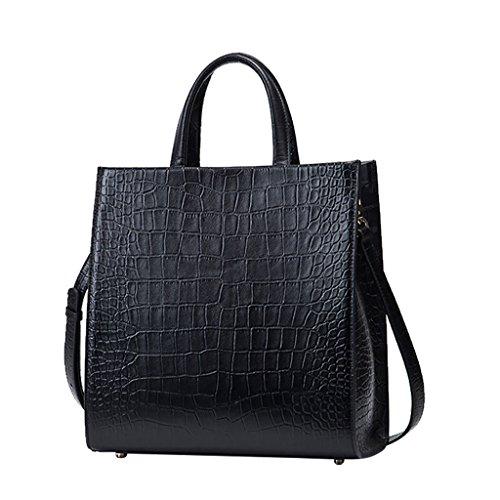 Mena UK Damen Designer First Layer aus Leder Krokodil Muster Stil Große Tasche Tasche Schulter Satchel Handtasche Schwarz