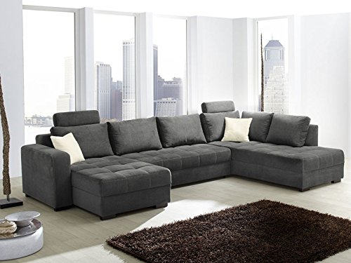 Wohnlandschaft Antigua Mikrofaser grau, 357x222x162cm, Bettfunktion Sofa Couch Polsterecke